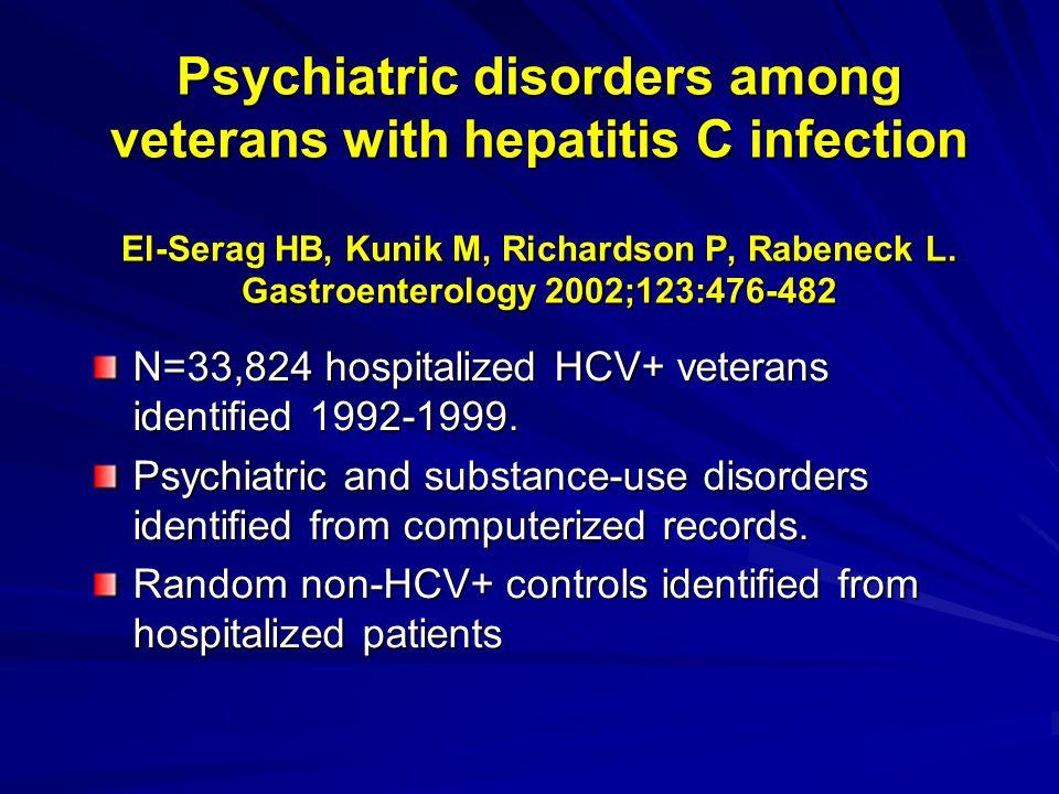 Psychiatric disorders among veterans with hepatitis C infection El-Serag HB, Kunik M, Richardson P, Rabeneck L. Gastroenterology 2002;123:476-482 N=33