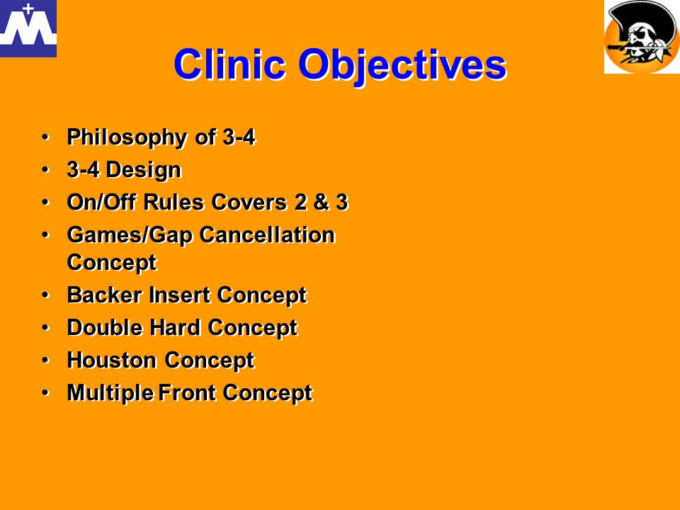 3-4 PHILOSOPHY Unique Scheme – can cause offensive confusion Find and Recruit Less Defensive Linemen Ability to put best players on the field (LBs) Multiple/Disguise – slant to/ stem to/ movements to different fronts Nose guard increases pressure on center O-Line must face a D-Line that will 2-gap, shade,slant, or run games Creates pass rush mismatches (olbs on backs,guards,tackles) Offense has to account for 7 potential immediate rushers (five of them on the L.O.S.) Zone Pressure Package easier because LBs can replace pass zones rather than defensive linemen System- Can change the scheme and players are not phased by it Balanced – Can mirror offensive formations Unique Scheme – can cause offensive confusion Find and Recruit Less Defensive Linemen Ability to put best players on the field (LBs) Multiple/Disguise – slant to/ stem to/ movements to different fronts Nose guard increases pressure on center O-Line must face a D-Line that will 2-gap, shade,slant, or run games Creates pass rush mismatches (olbs on backs,guards,tackles) Offense has to account for 7 potential immediate rushers (five of them on the L.O.S.) Zone Pressure Package easier because LBs can replace pass zones rather than defensive linemen System- Can change the scheme and players are not phased by it Balanced – Can mirror offensive formations
