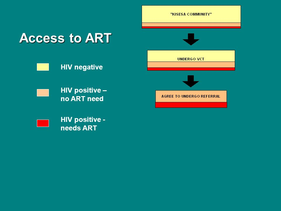 Access to ART Access to ART HIV negative HIV positive – no ART need HIV positive - needs ART