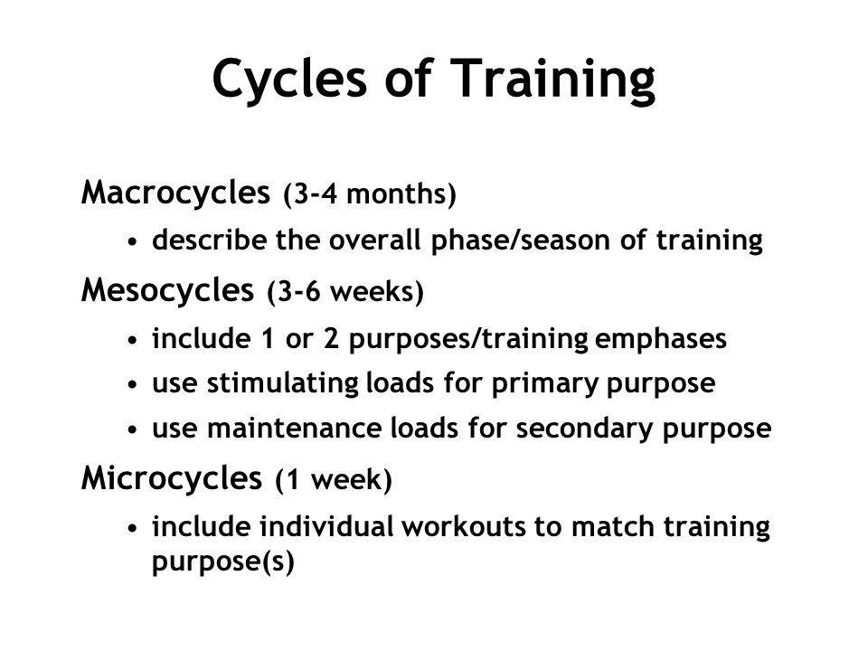Cycles of Training Macrocycles (3-4 months) describe the overall phase/season of training Mesocycles (3-6 weeks) include 1 or 2 purposes/training emph