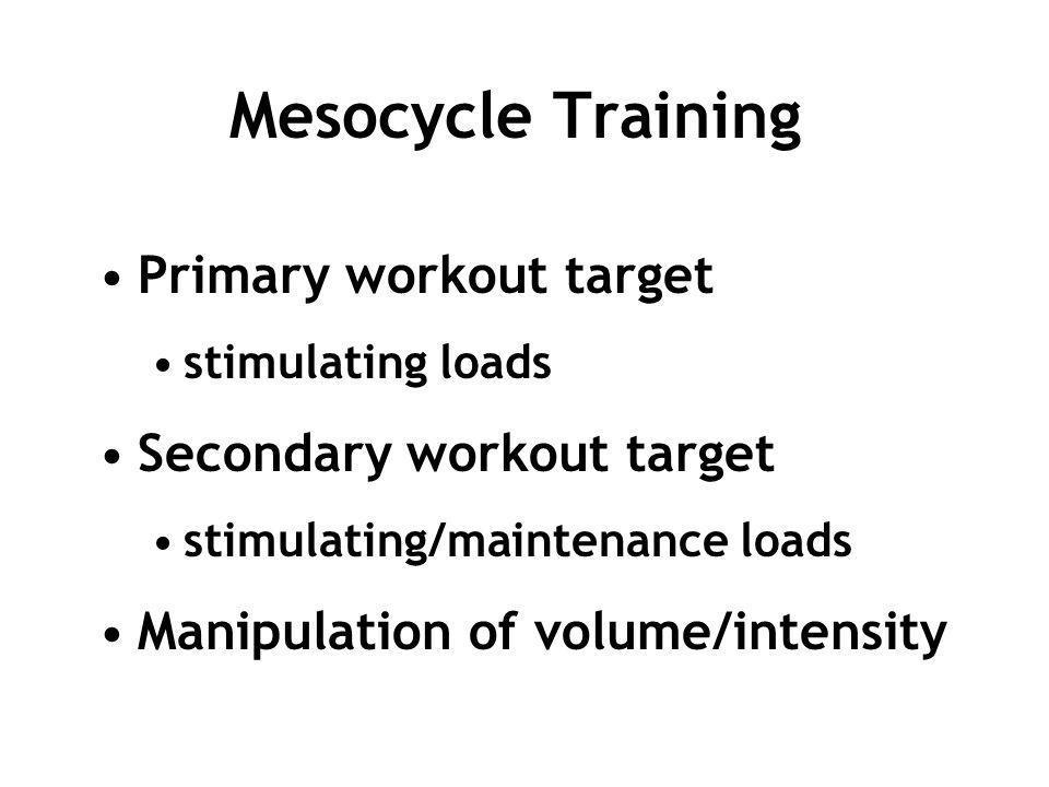 Mesocycle Training Primary workout target stimulating loads Secondary workout target stimulating/maintenance loads Manipulation of volume/intensity