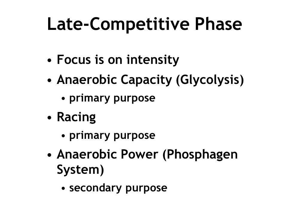 Late-Competitive Phase Focus is on intensity Anaerobic Capacity (Glycolysis) primary purpose Racing primary purpose Anaerobic Power (Phosphagen System