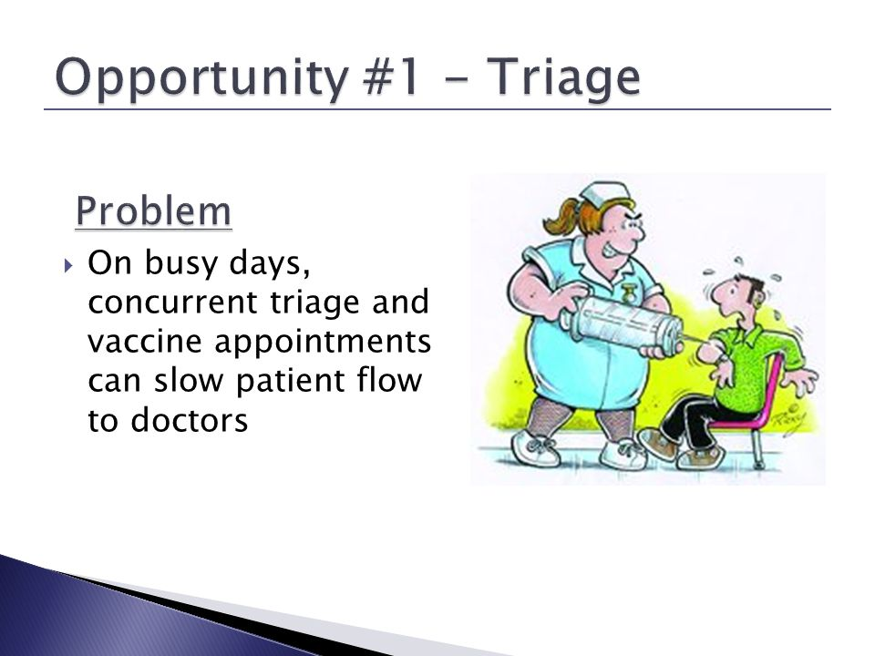 Shadowed triage appointments (mix of sick, newborn and developmental visits) to observe procedural bottlenecks Interviewed nurses to understand challenges around vaccine and triage procedures Discussed standards and alternatives with doctors