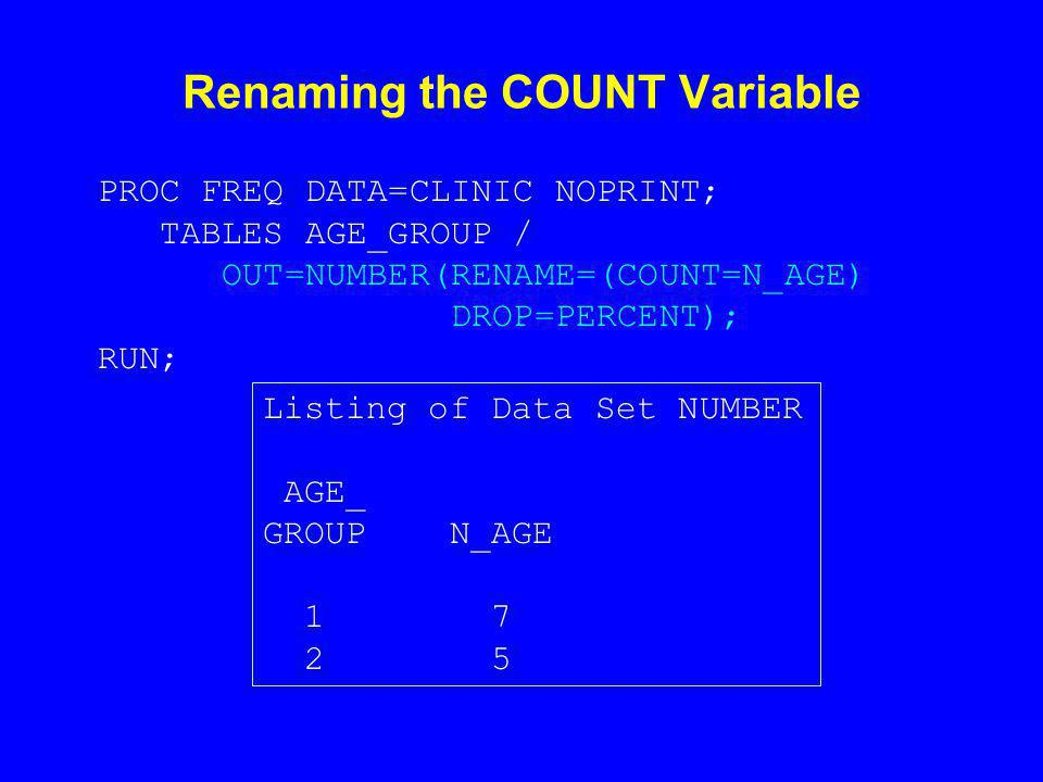 Renaming the COUNT Variable PROC FREQ DATA=CLINIC NOPRINT; TABLES AGE_GROUP / OUT=NUMBER(RENAME=(COUNT=N_AGE) DROP=PERCENT); RUN; Listing of Data Set NUMBER AGE_ GROUP N_AGE 1 7 2 5