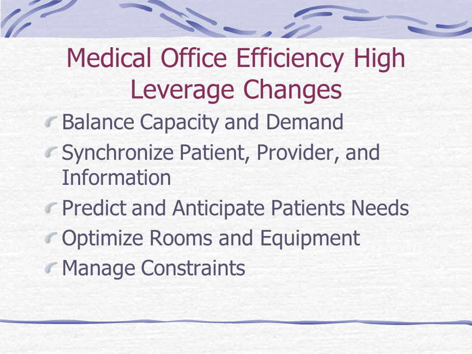 Medical Office Efficiency High Leverage Changes Balance Capacity and Demand Synchronize Patient, Provider, and Information Predict and Anticipate Patients Needs Optimize Rooms and Equipment Manage Constraints
