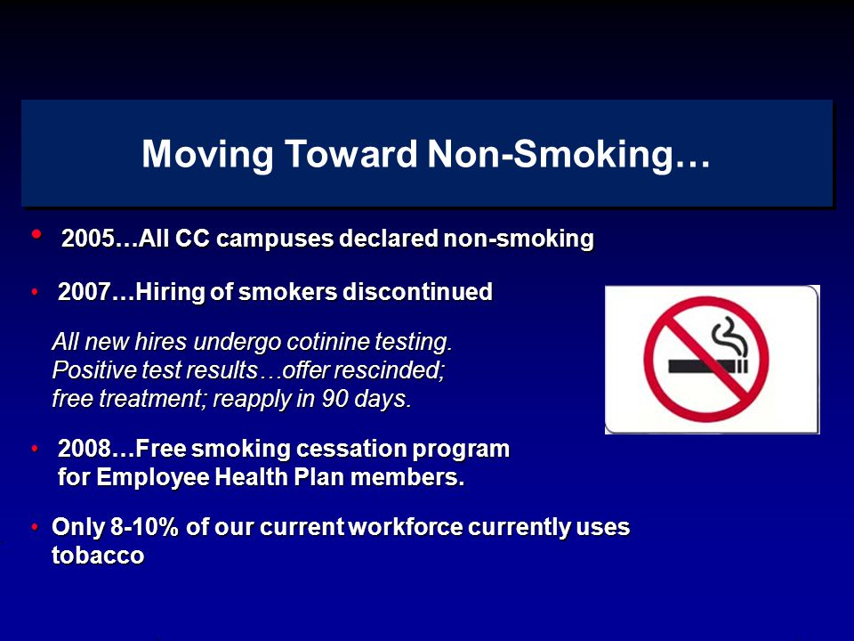 2005…All CC campuses declared non-smoking 2005…All CC campuses declared non-smoking 2007…Hiring of smokers discontinued 2007…Hiring of smokers discontinued All new hires undergo cotinine testing.