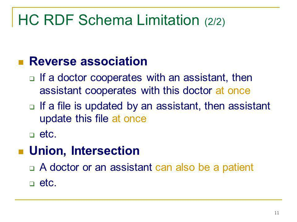 11 HC RDF Schema Limitation (2/2) Reverse association If a doctor cooperates with an assistant, then assistant cooperates with this doctor at once If