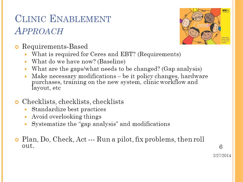 6 2/27/2014 C LINIC E NABLEMENT A PPROACH Requirements-Based What is required for Ceres and EBT.