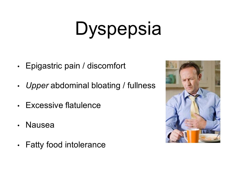 Dyspepsia Epigastric pain / discomfort Upper abdominal bloating / fullness Excessive flatulence Nausea Fatty food intolerance