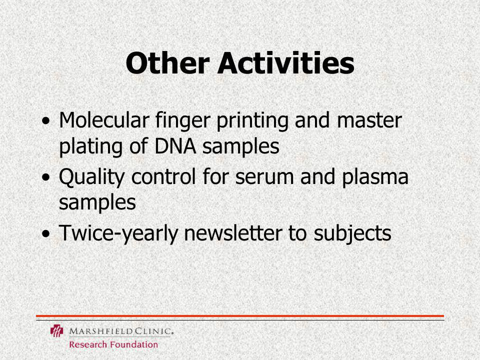 Other Activities Molecular finger printing and master plating of DNA samples Quality control for serum and plasma samples Twice-yearly newsletter to subjects