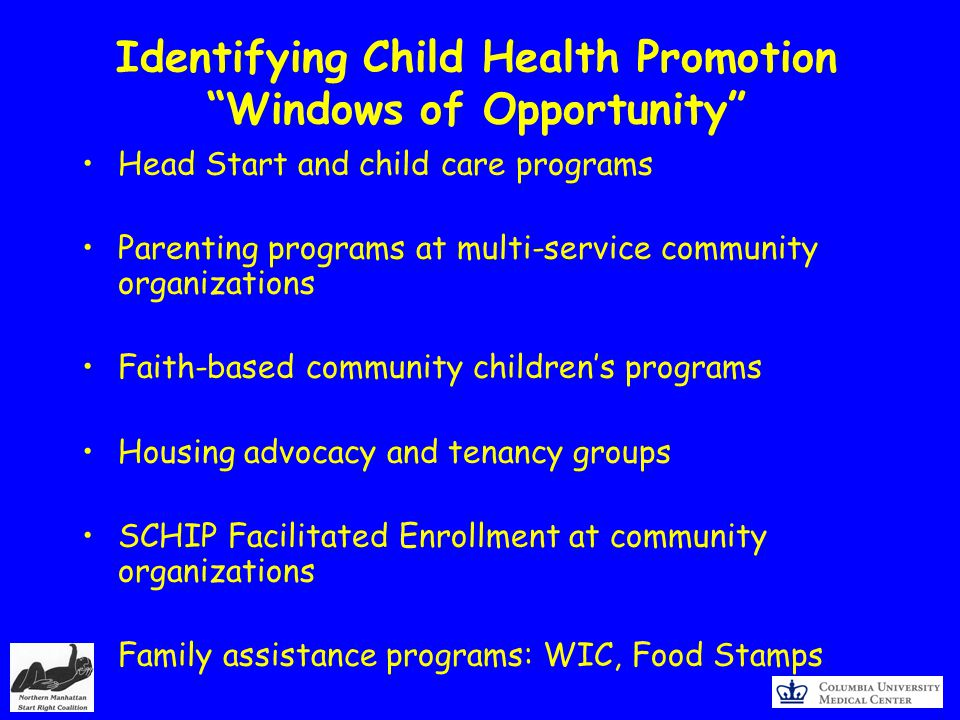 Identifying Child Health Promotion Windows of Opportunity Head Start and child care programs Parenting programs at multi-service community organizations Faith-based community childrens programs Housing advocacy and tenancy groups SCHIP Facilitated Enrollment at community organizations Family assistance programs: WIC, Food Stamps