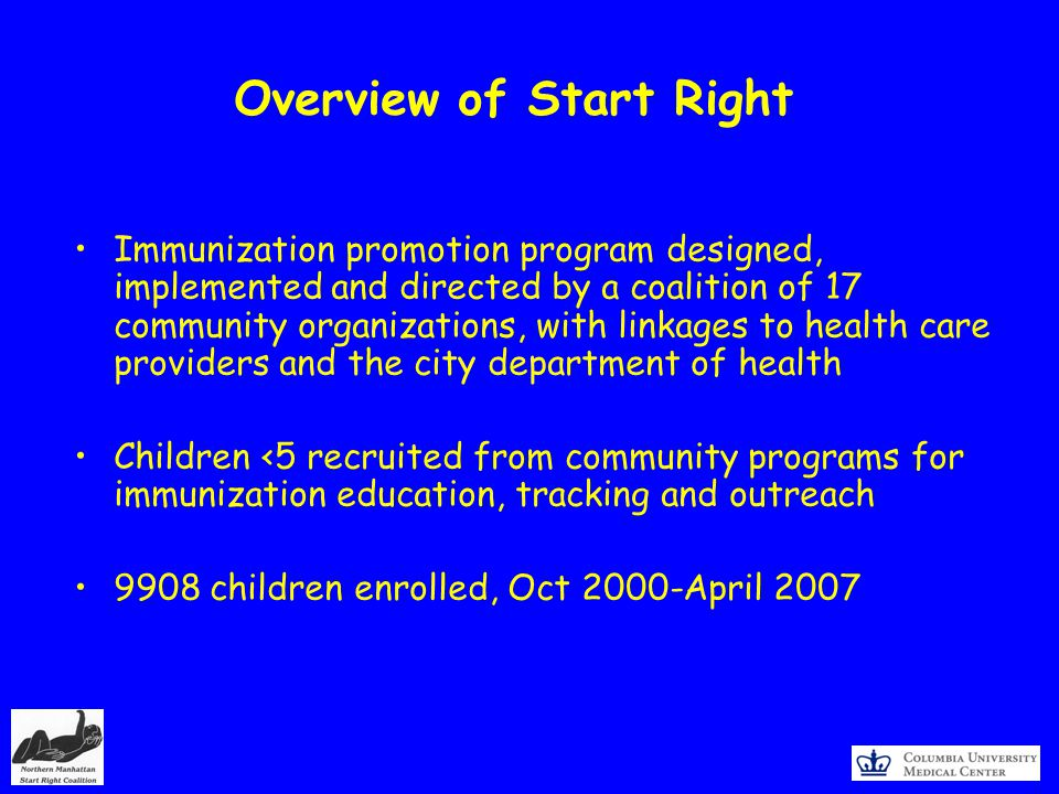 Overview of Start Right Immunization promotion program designed, implemented and directed by a coalition of 17 community organizations, with linkages to health care providers and the city department of health Children <5 recruited from community programs for immunization education, tracking and outreach 9908 children enrolled, Oct 2000-April 2007