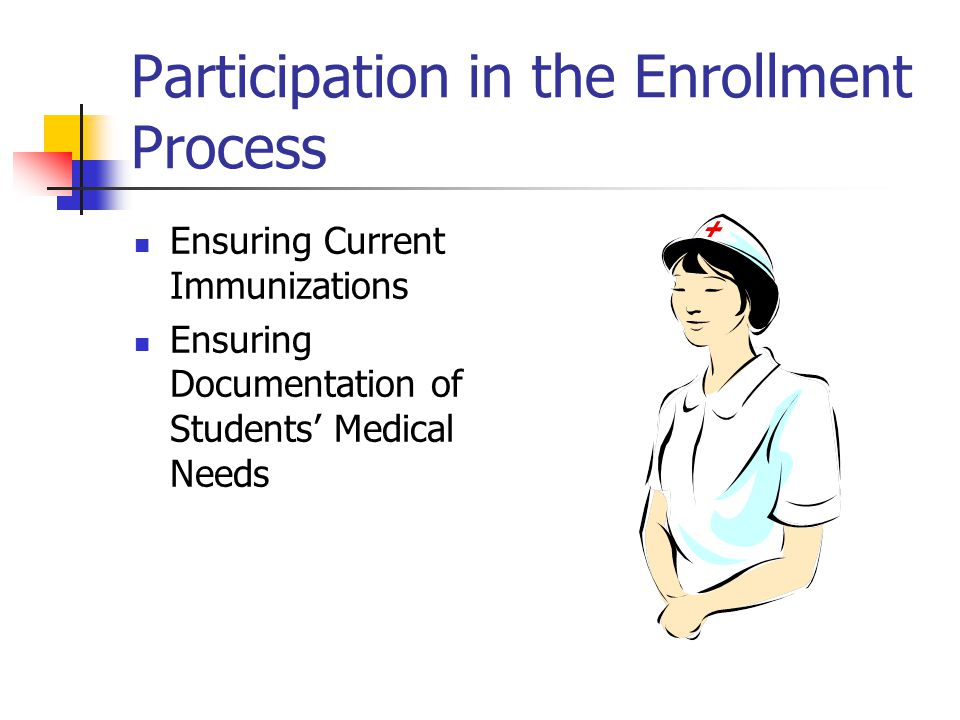Participation in the Enrollment Process Ensuring Current Immunizations Ensuring Documentation of Students Medical Needs