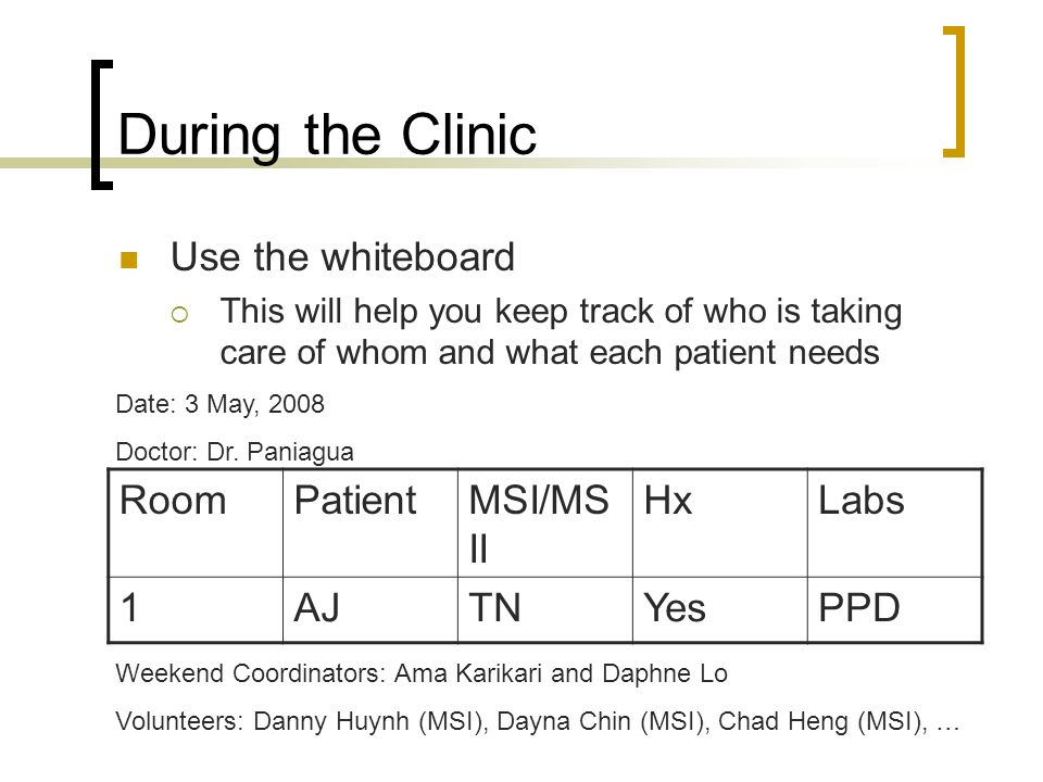 During the Clinic Use the whiteboard This will help you keep track of who is taking care of whom and what each patient needs Date: 3 May, 2008 Doctor: Dr.