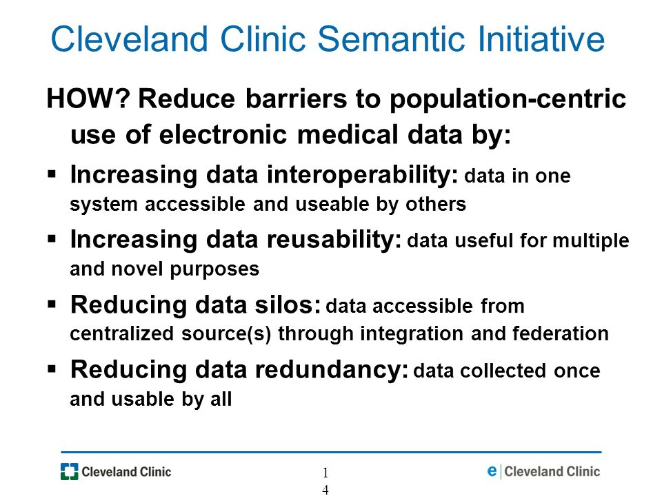 14 Cleveland Clinic Semantic Initiative HOW.