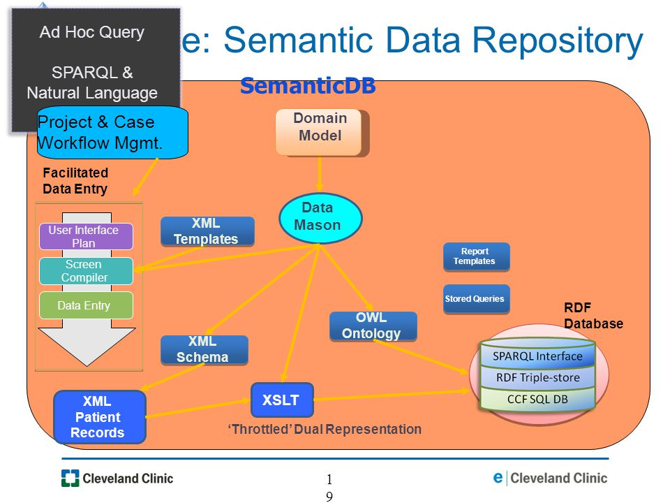 19 Experience: Semantic Data Repository SemanticDB XML Patient Records OWL Ontology XSLT XML Templates XML Schema RDF Database Ad Hoc Query SPARQL & Natural Language with Cyc Stored Queries Report Templates Throttled Dual Representation Data Mason Domain Model Data Entry Screen Compiler User Interface Plan Facilitated Data Entry Project & Case Workflow Mgmt.
