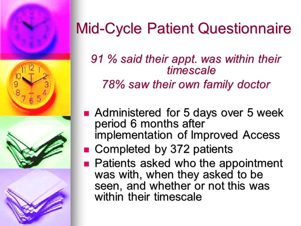 Mid-Cycle Patient Questionnaire 91 % said their appt. was within their timescale 78% saw their own family doctor Administered for 5 days over 5 week p