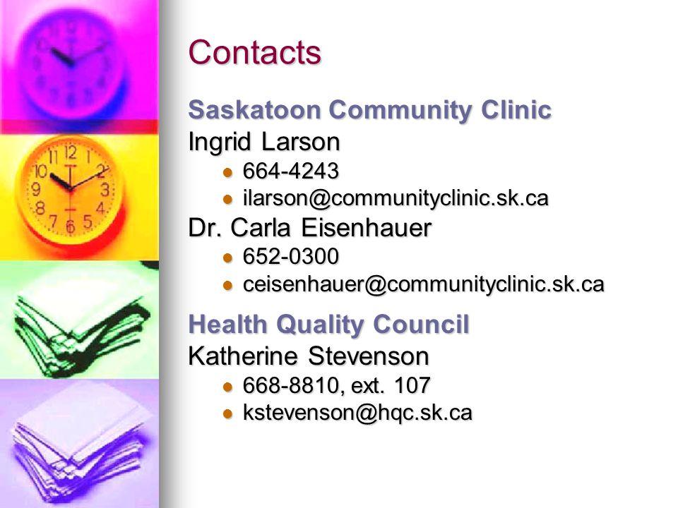 Contacts Saskatoon Community Clinic Ingrid Larson 664-4243 664-4243 ilarson@communityclinic.sk.ca ilarson@communityclinic.sk.ca Dr. Carla Eisenhauer 6