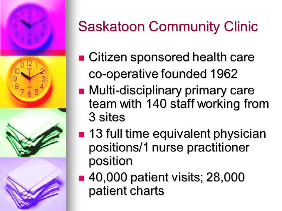 Saskatoon Community Clinic Citizen sponsored health care Citizen sponsored health care co-operative founded 1962 Multi-disciplinary primary care team