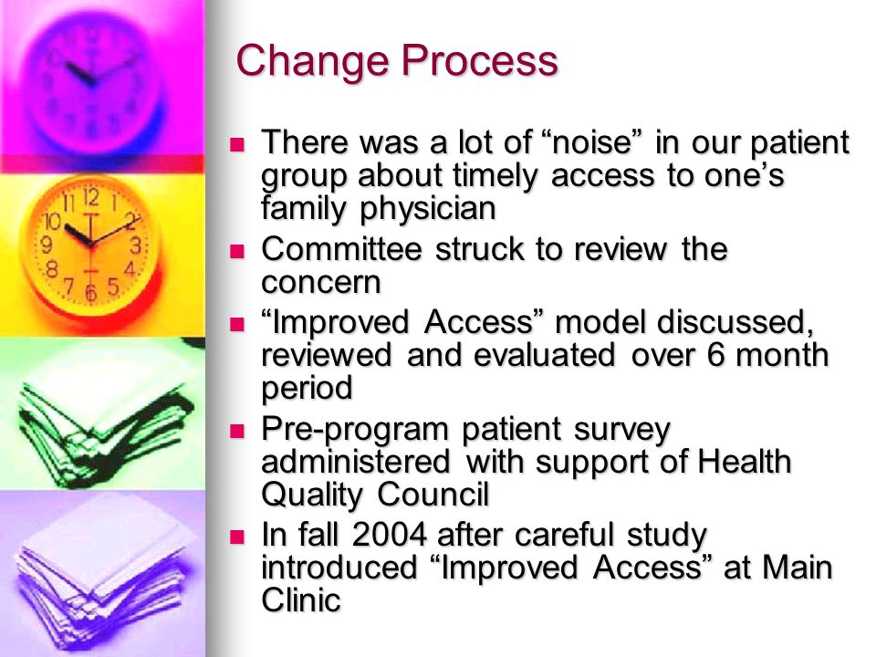 Change Process There was a lot of noise in our patient group about timely access to ones family physician There was a lot of noise in our patient grou