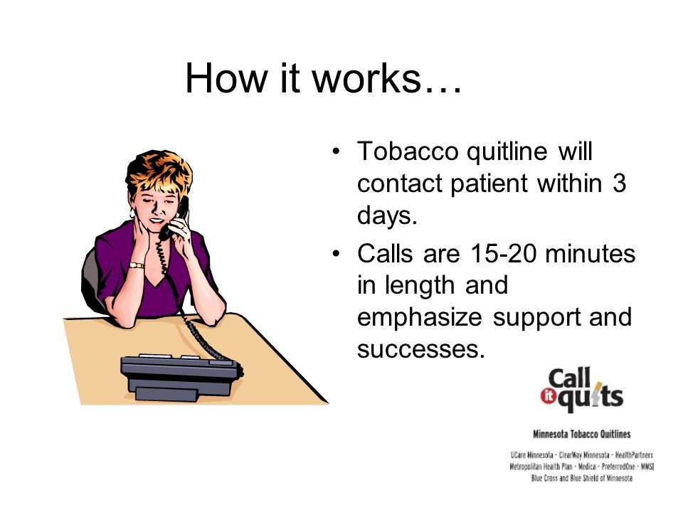 Tobacco quitline will contact patient within 3 days.