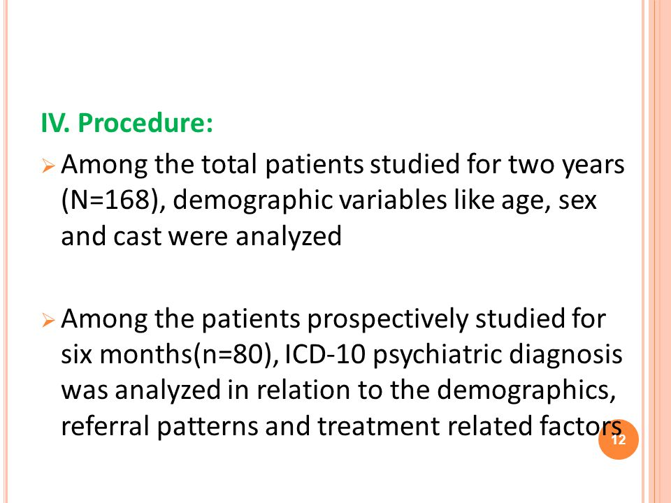 IV. Procedure: Among the total patients studied for two years (N=168), demographic variables like age, sex and cast were analyzed Among the patients p