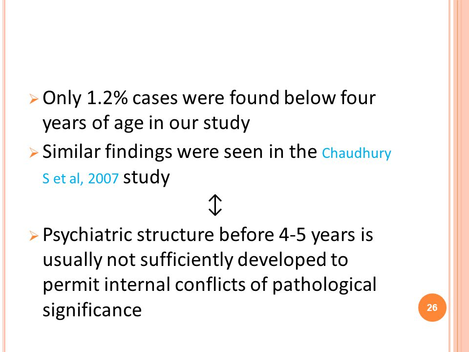 Only 1.2% cases were found below four years of age in our study Similar findings were seen in the Chaudhury S et al, 2007 study Psychiatric structure