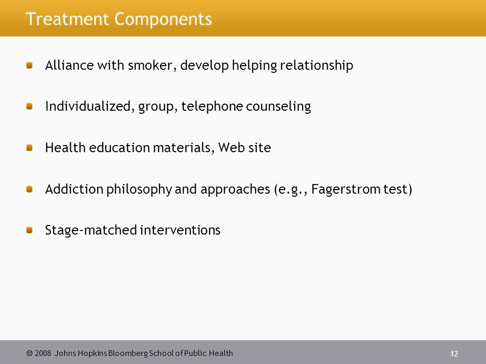 2008 Johns Hopkins Bloomberg School of Public Health 12 Treatment Components Alliance with smoker, develop helping relationship Individualized, group, telephone counseling Health education materials, Web site Addiction philosophy and approaches (e.g., Fagerstrom test) Stage-matched interventions