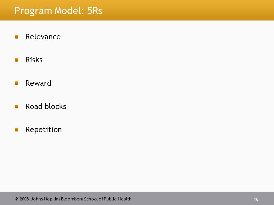 2008 Johns Hopkins Bloomberg School of Public Health 16 Program Model: 5Rs Relevance Risks Reward Road blocks Repetition