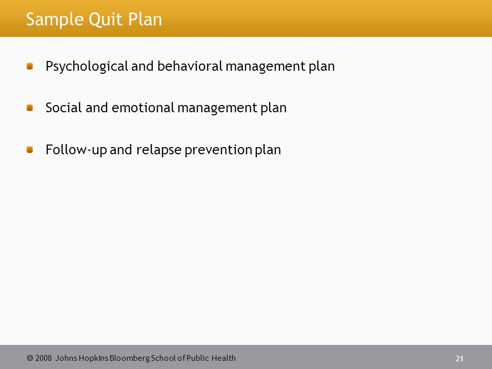 2008 Johns Hopkins Bloomberg School of Public Health 21 Sample Quit Plan Psychological and behavioral management plan Social and emotional management plan Follow-up and relapse prevention plan