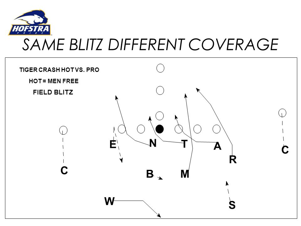 SAME BLITZ DIFFERENT COVERAGE E N T R MB A C C W S HOT = MEN FREE TIGER CRASH HOT VS. PRO FIELD BLITZ