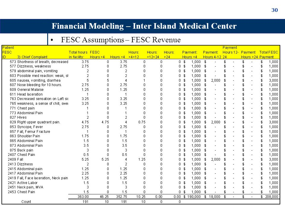 30 FESC Assumptions – FESC Revenue Financial Modeling – Inter Island Medical Center