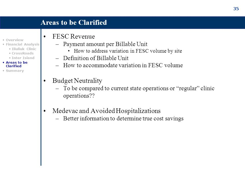 35 FESC Revenue –Payment amount per Billable Unit How to address variation in FESC volume by site –Definition of Billable Unit –How to accommodate variation in FESC volume Budget Neutrality –To be compared to current state operations or regular clinic operations?.