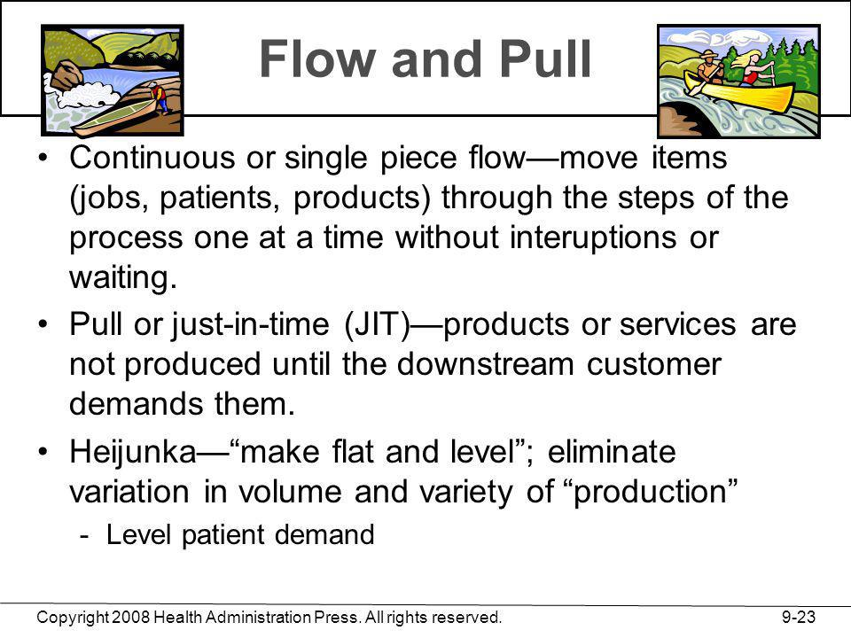 Copyright 2008 Health Administration Press. All rights reserved. 9-23 Flow and Pull Continuous or single piece flowmove items (jobs, patients, product