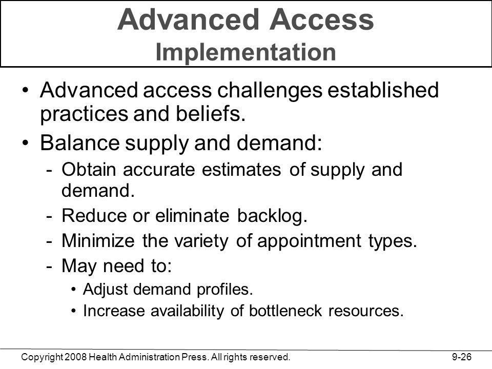 Copyright 2008 Health Administration Press. All rights reserved. 9-26 Advanced Access Implementation Advanced access challenges established practices