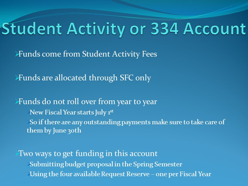 Funds come from Student Activity Fees Funds are allocated through SFC only Funds do not roll over from year to year New Fiscal Year starts July 1 st So if there are any outstanding payments make sure to take care of them by June 30th Two ways to get funding in this account Submitting budget proposal in the Spring Semester Using the four available Request Reserve – one per Fiscal Year