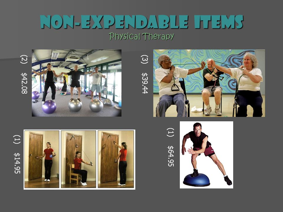 Non-expendable Items Physical Therapy (2) $42.08(3) $39.44 (1) $14.95 (1) $64.95