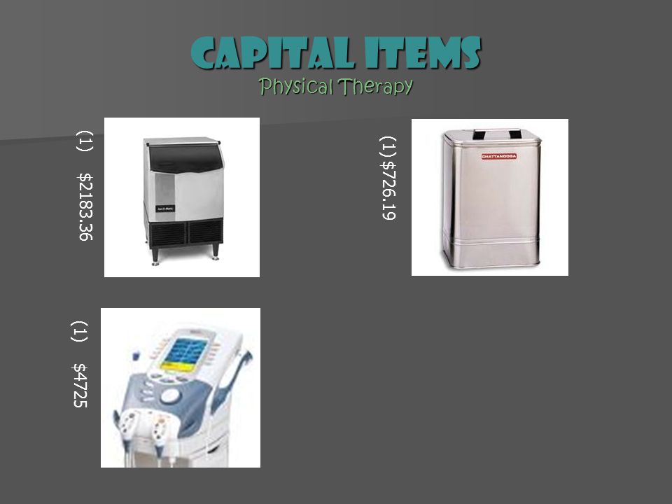 Capital Items Physical Therapy (1) $2183.36 (1)$726.19 (1) $4725
