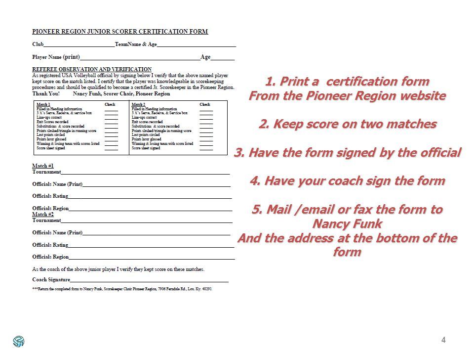 4 1. Print a certification form From the Pioneer Region website 2.
