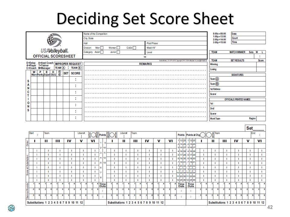 Deciding Set Score Sheet 42