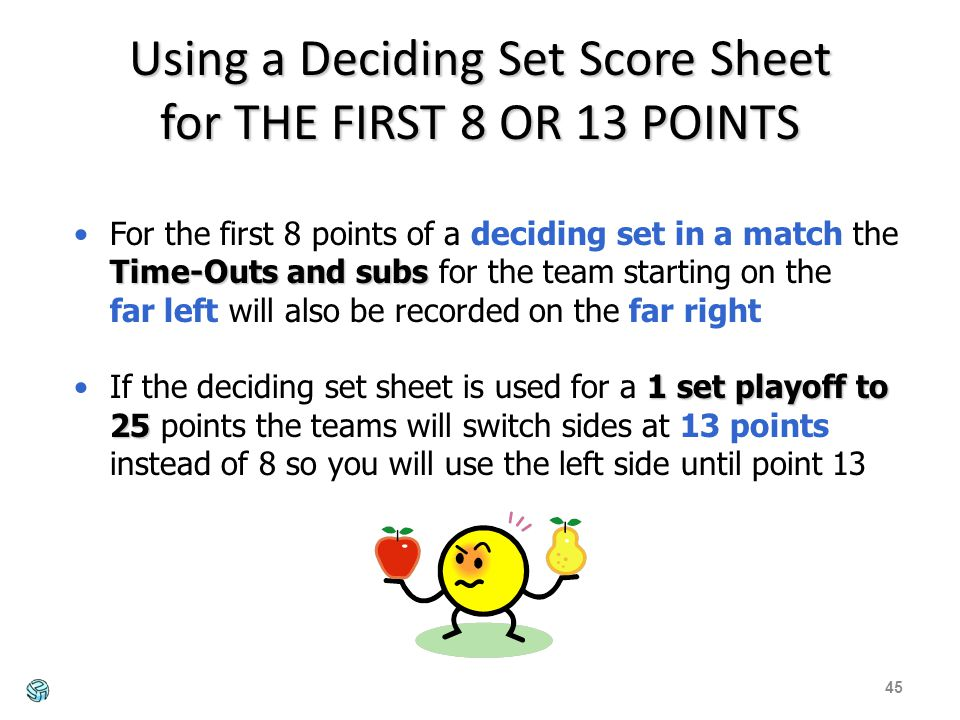 Using a Deciding Set Score Sheet for THE FIRST 8 OR 13 POINTS 45 Time-Outs and subsFor the first 8 points of a deciding set in a match the Time-Outs and subs for the team starting on the far left will also be recorded on the far right 1 set playoff to 25If the deciding set sheet is used for a 1 set playoff to 25 points the teams will switch sides at 13 points instead of 8 so you will use the left side until point 13