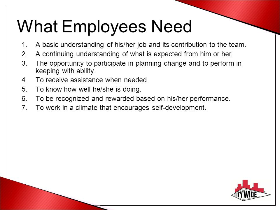 What Employees Need 1.A basic understanding of his/her job and its contribution to the team.