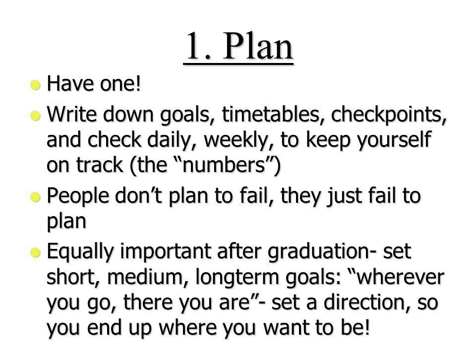 1. Plan Have one. Have one.