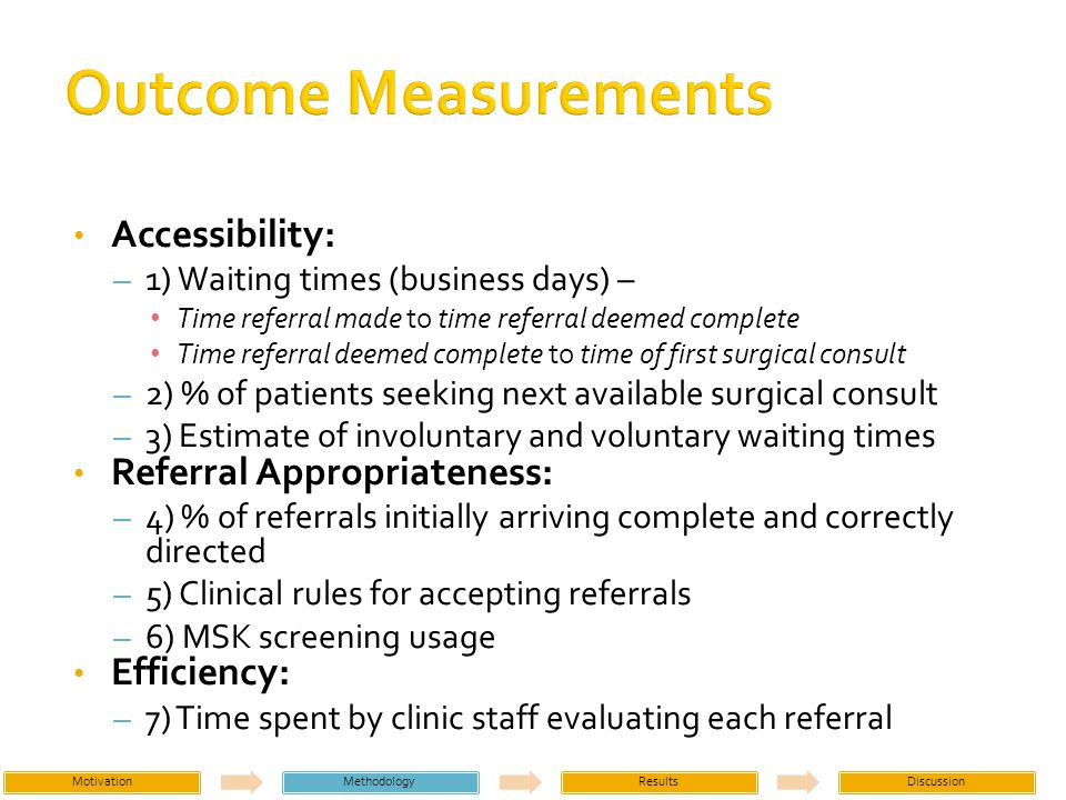 Accessibility: – 1) Waiting times (business days) – Time referral made to time referral deemed complete Time referral deemed complete to time of first surgical consult – 2) % of patients seeking next available surgical consult – 3) Estimate of involuntary and voluntary waiting times Referral Appropriateness: – 4) % of referrals initially arriving complete and correctly directed – 5) Clinical rules for accepting referrals – 6) MSK screening usage Efficiency: – 7) Time spent by clinic staff evaluating each referral MotivationMethodologyResultsDiscussion