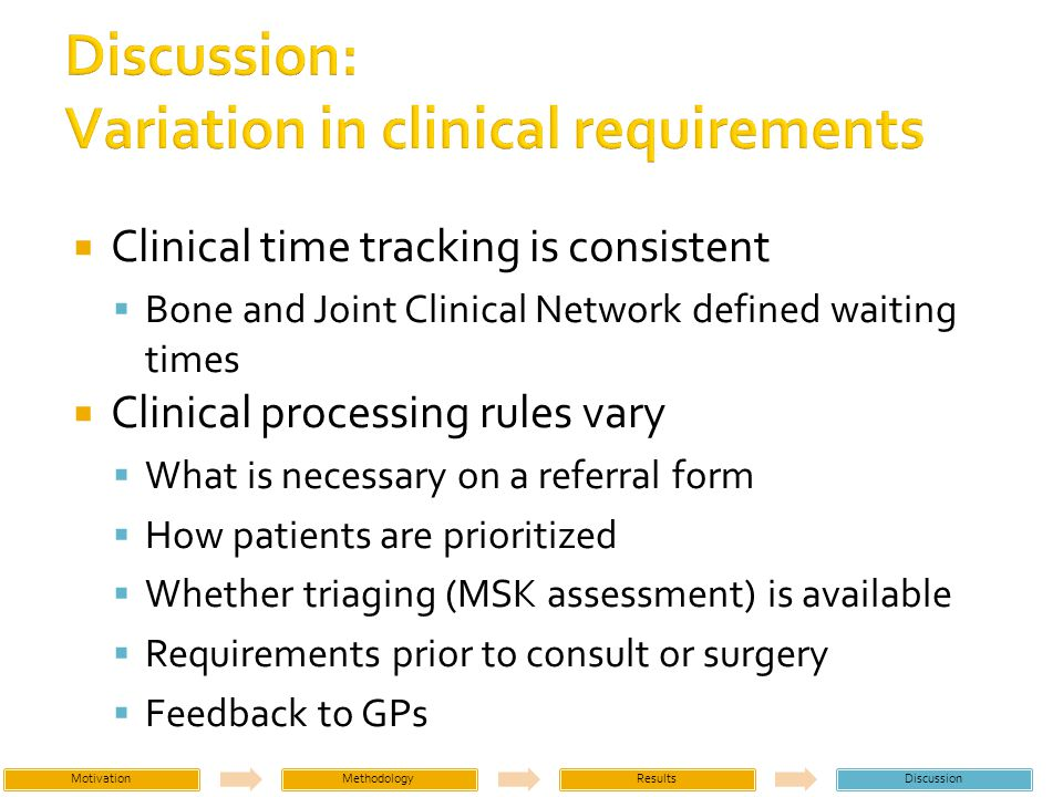 Clinical time tracking is consistent Bone and Joint Clinical Network defined waiting times Clinical processing rules vary What is necessary on a referral form How patients are prioritized Whether triaging (MSK assessment) is available Requirements prior to consult or surgery Feedback to GPs MotivationMethodologyResultsDiscussion