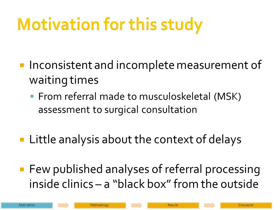 Clinic staff Most referrals take ~9-14 minutes Referrals with missing information take longer Most staff have other work areas in addition to referral processing Technology could increase efficiency (duplicate data entry, scanning information) MotivationMethodologyResultsDiscussion