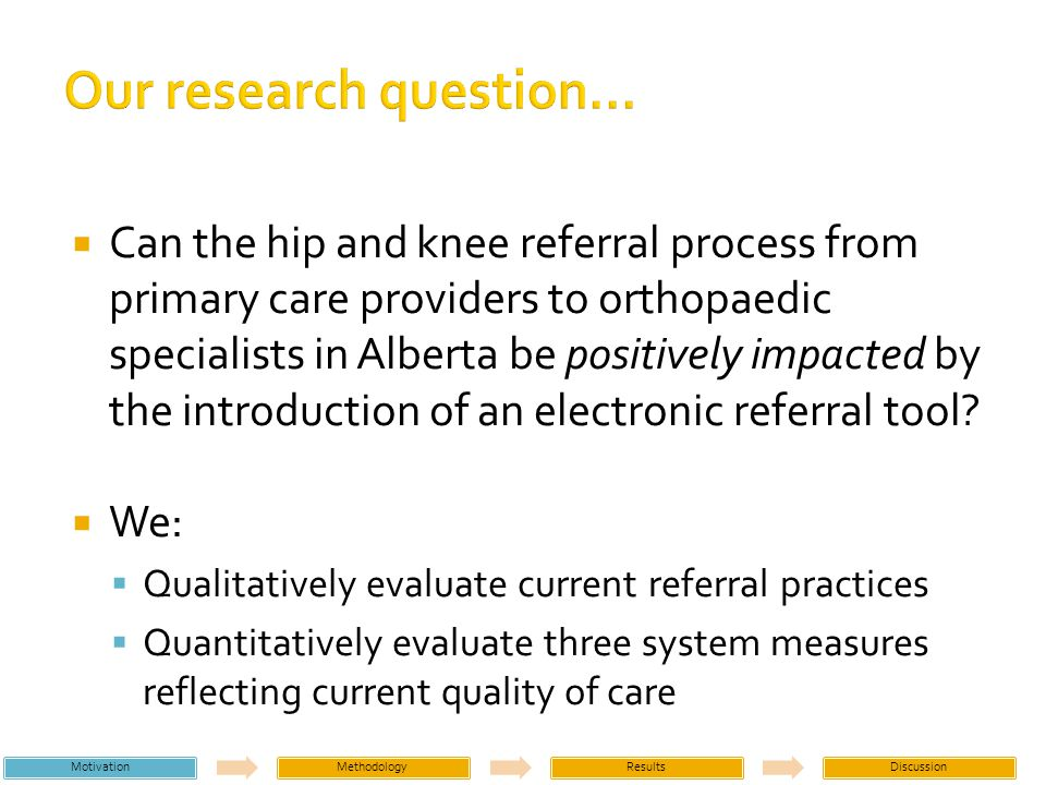 Data collected in three stages: Initial clinic visits, with semi-structured interviews Retrospective patient chart sampling Time and motion study of clinical staff Patients are consulting for hip and knee osteoarthritis for first time Primarily referred to clinics by GPs Three volunteer hip and knee clinics in Alberta MotivationMethodologyResultsDiscussion