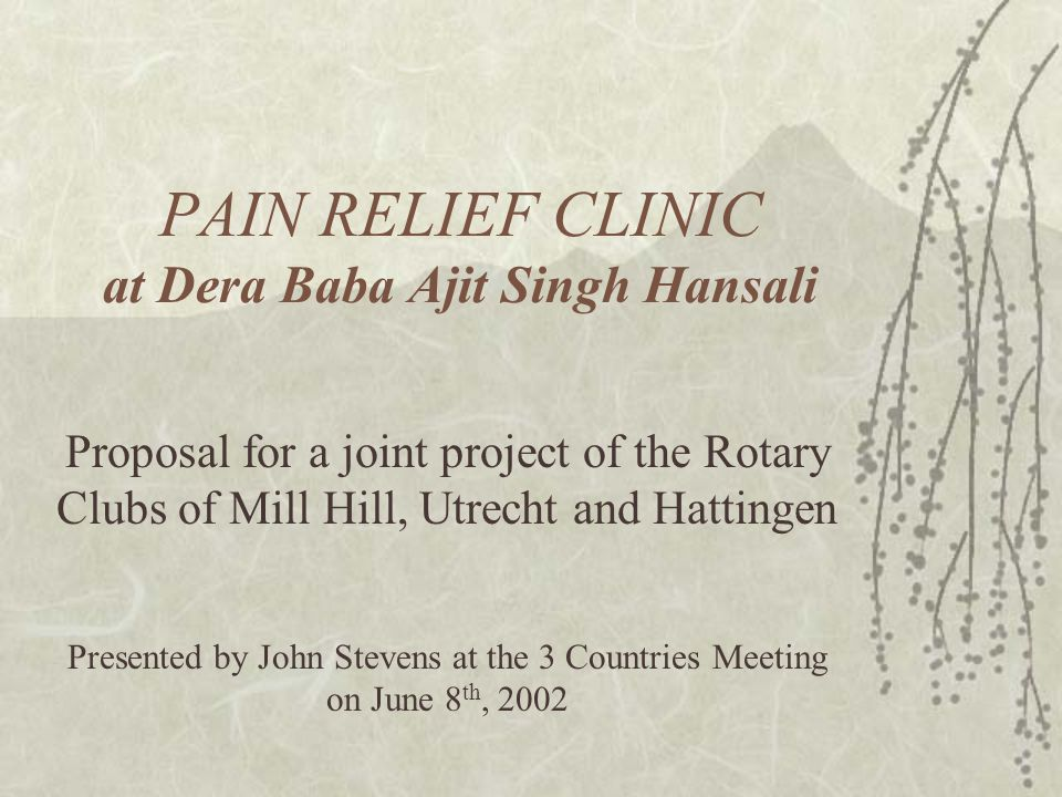 PAIN RELIEF CLINIC at Dera Baba Ajit Singh Hansali Proposal for a joint project of the Rotary Clubs of Mill Hill, Utrecht and Hattingen Presented by John Stevens at the 3 Countries Meeting on June 8 th, 2002