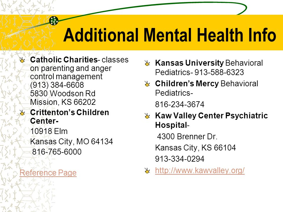 Additional Mental Health Info Catholic Charities- classes on parenting and anger control management (913) 384-6608 5830 Woodson Rd Mission, KS 66202 Crittentons Children Center- 10918 Elm Kansas City, MO 64134 816-765-6000 Reference Page Kansas University Behavioral Pediatrics- 913-588-6323 Childrens Mercy Behavioral Pediatrics- 816-234-3674 Kaw Valley Center Psychiatric Hospital- 4300 Brenner Dr.