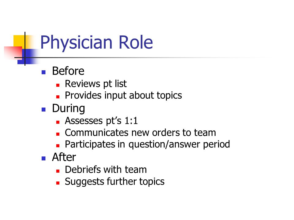 Physician Role Before Reviews pt list Provides input about topics During Assesses pts 1:1 Communicates new orders to team Participates in question/answer period After Debriefs with team Suggests further topics